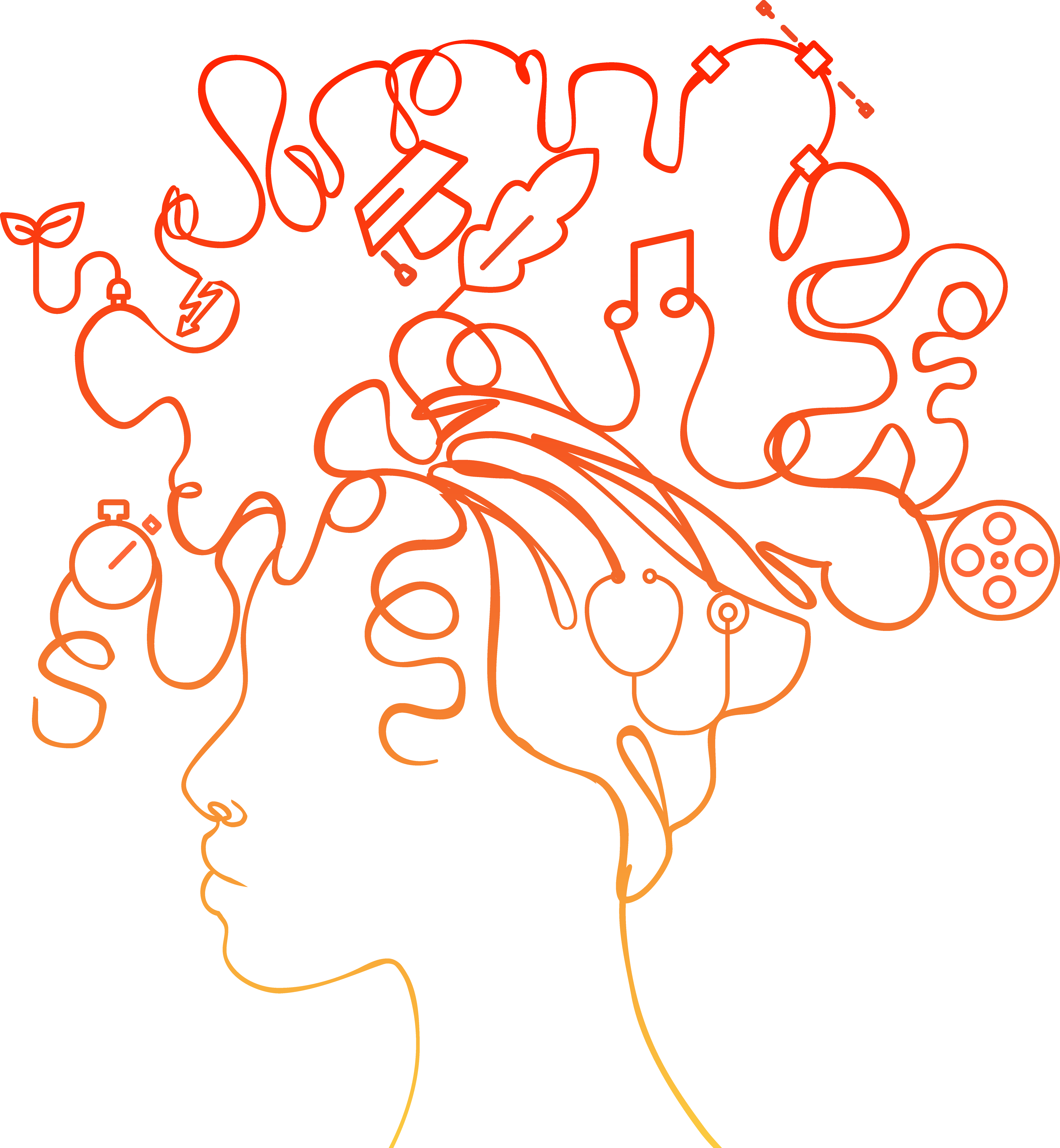 illustration of hair forming different interests